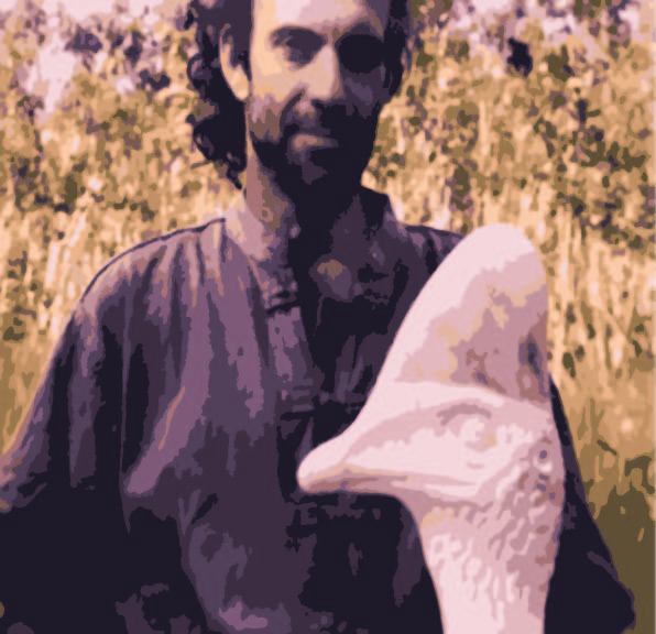 A painterly depiction as image trace from photo of Artist, Italo Giardina, with marble sculpture of Cassowary. A modal artistic real depiction.